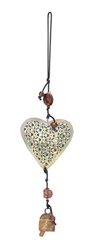 Handcrafted Wind Noisemaker Windchime With Heart Glass Beads and Nana Bell