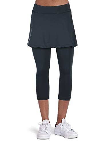 ANIVIVO Tennis Skirted Leggings Women with Pockets Capris Skorts Leggings with Skirts& Women Tennis Tight Pants Sports Skirted Pants Tennis Clothing(Black-Apart Skirt,XL)