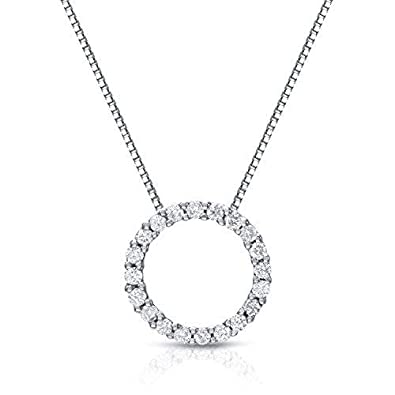 60bda9149 Amazon.com: Diamond Wish 14k White Gold Round Diamond Circle of Life Pendant  Necklace (1/6 cttw, J-K Color, I1-I2 Clarity) with 18