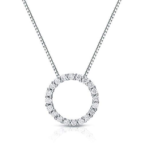 - Diamond Wish 14k White Gold Round Diamond Circle of Life Pendant Necklace (1/6 cttw, J-K Color, I1-I2 Clarity) with 18