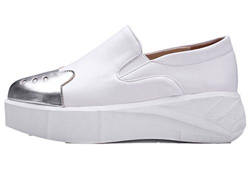 Amoonyfashion Mujeres Solid Pu Kitten-heels Pull-on Round-toe Bombas-zapatos Plata