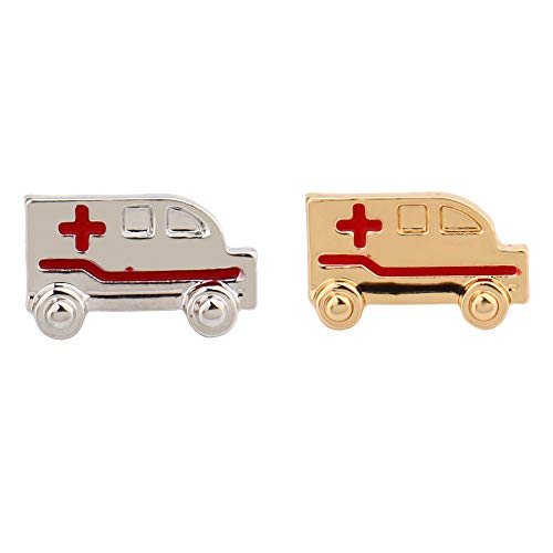 hanreshe Ambulance Pin Brooch Pins 2 Pieces Set Nurse Doctor Graduation Medical Student Brooch Silver Gold Color (Ambulance Brooch Pin) ()
