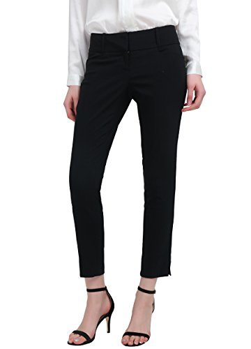 YTUIEKY Women's Stretch Capri Casual Work Ankle Pants Black