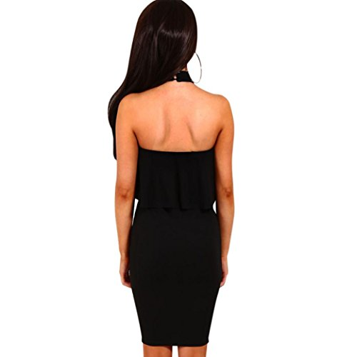 spento collare Bodycon Lotus Hansee mini increspato vestito abiti sexy spalla Black donne Halter 0w4dwv