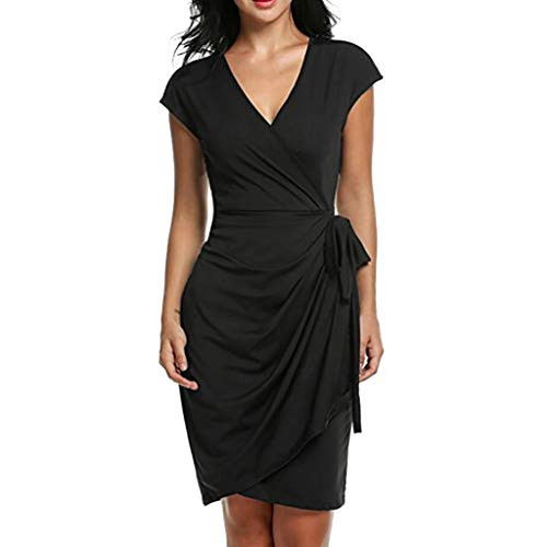 - Sumen Women Casual V-Neck Cap Sleeve Belted Tie Front Pencil Tunic Dress Solid Color Black