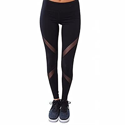 Fittoo Women Mesh Elastic Workout Pants Gym High Waist Yoga Leggings Slim Black Quick Dry Tight Flare Leg
