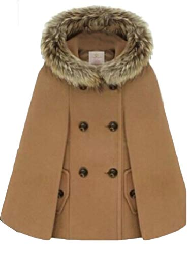 Jmwss QD Women's Wool Blend Cape Faux-Fur Collar Double Breasted Hoodies Pea Jackets Camel L