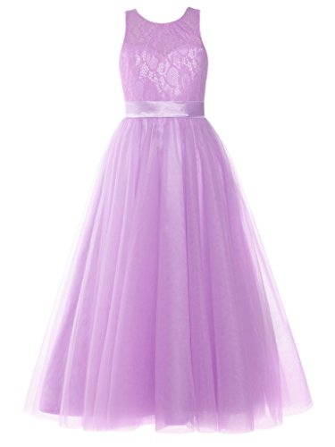 FAIRY COUPLE Big Girl's Scoop Neck Lace Tulle A-line Junior bridesmaid gown K0233 Lilac Size 12