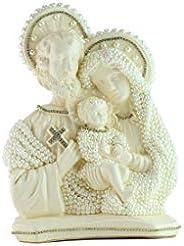 Busto da Sagrada Família em Gesso - Artesanal - Coleção Colors - Cor Areia - Strass Dourado 30cm
