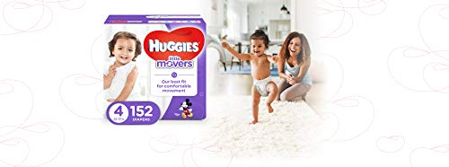 Large Product Image of HUGGIES LITTLE MOVERS Active Baby Diapers, Size 4 (fits 22-37 lb.), 152 Ct, ECONOMY PLUS (Packaging May Vary)