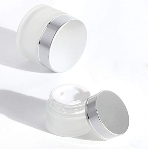 SYBL 5 Ml Frosted Glass Round Cosmetic Jar with Silver Cap Empty Vial Sample Bottles Containers for Face Eye Cream Mask Lotion,Pack of 3