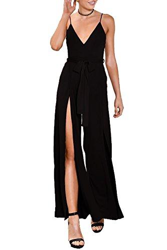 5a22391c874 Vivicastle Women s USA Sexy Wrap Top Wide Leg Long Sleeve Cocktail Knit  Jumpsuit (Medium