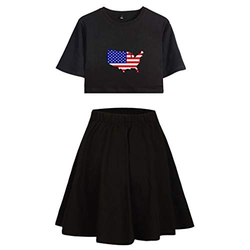 - Mysky Summer Popular Women Casual Cotton Independence Day American Flag Print Crop Top+Pure Color Pleated Skirt Set Black