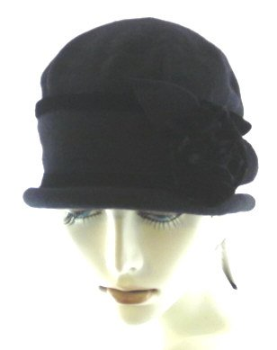 Parkhurst Wool Velvet Flower Cloche Black