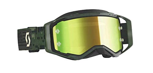 Scott Kaki Green/Yellow Chrome Works Prospect Anti-Fog Goggles with Lens Lock System and No Sweat 3-Layer Molded Face Foam 272821