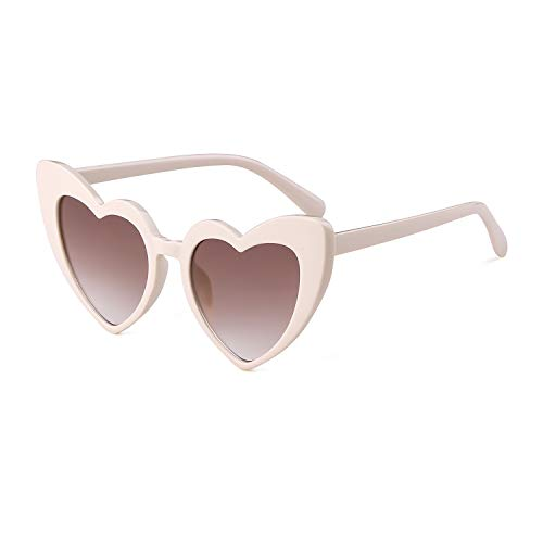 Cream Womens Sunglasses - Heart Sunglasses Vintage Women Cat Eye Retro Mod Style Oversized Sun Glasses