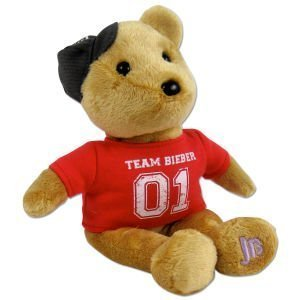 Justin Bieber Official Signature Tan Bear with Red Team Bieber Shirt and Cap (Justin Bear Bieber)