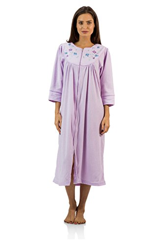 (Casual Nights Women's Zipper Front Jacquard Fleece Long Robe Duster - Purple - Medium)