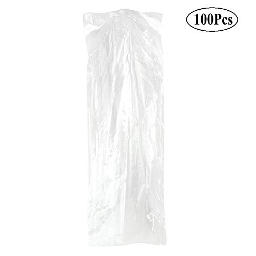 Wind Garments - 100 Pack Garment Bag, Transparent Clothing Dust Cover, Dustproof Wateproof Storage Bag for Suitable for Long Dresses Such as Wedding Dresses, Long Skirts, Windbreakers, Down Jackets, etc. (60×150cm)