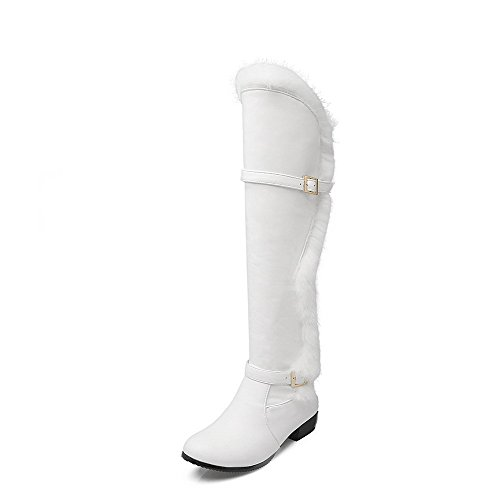 top AmoonyFashion Boots Toe Heels White Soft High Closed Round Low Material Women's Solid g4xwrPgqz