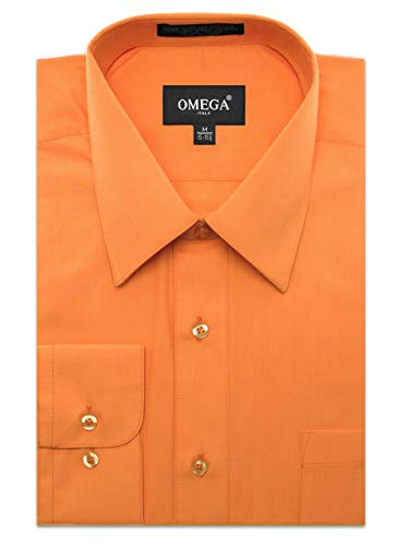 JC DISTRO Men's Regular Fit Dress Shirt w/Pocket 20-20.5 Neck-36/37Sleeve (4XL) Orange