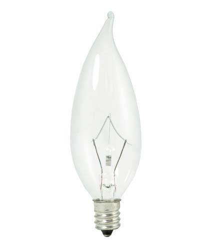 48 Bulbrte 460340 KR40CFC//32 40-Watt Dimmable Krypton Krystal Touch Flame Tip CA10 Chandelier Bulb Candelabra Base Clear