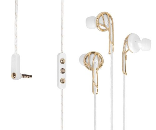 Frends Ella B Earbuds Headphones in Gold and White (Non-retail Packaging)