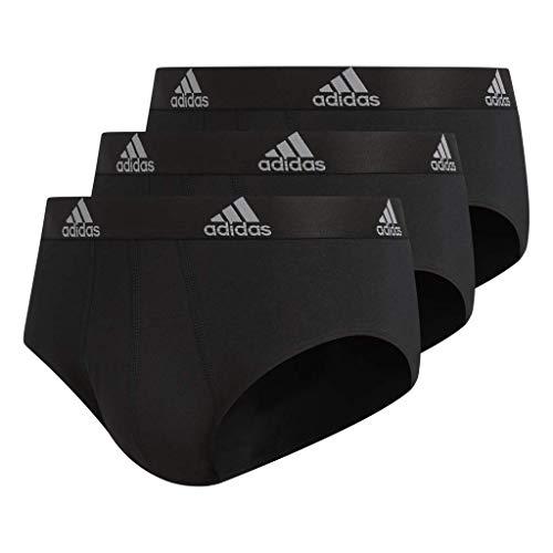 - adidas Men's Stretch Cotton Briefs Underwear (3-Pack), Black/Black Black/Black Black/Black, Large