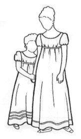 [Girl's Regency Era High-waisted Dress Pattern] (Colonial Girl Costumes Pattern)
