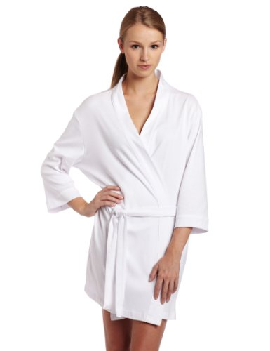 Seven Apparel 00134 Hotel Spa Collection Kimono Knit Cotton Robe, White,One size fits most]()