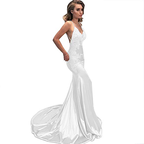 M Bridal Women's Lace Appliques Mermaid Long Train Prom Dresses Open Back Evening Gowns White ()