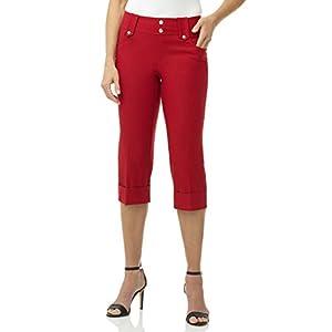 REKUCCI Women's Ease In To Comfort Fit Modern Classic Cuffed Capri (14,Red)