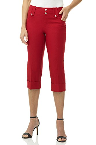 (Rekucci Women's Ease in to Comfort Fit Modern Classic Cuffed Capri (12,Red))