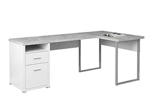 L-desk Right Return - Monarch Specialties I 7258 Computer Desk Left or Right Facing White / Cement-Look 80