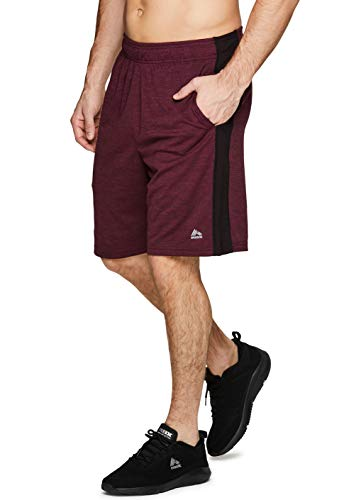 (RBX Active Men's Mesh Colorblock Athletic Gym Shorts with Pockets CB Red XL )