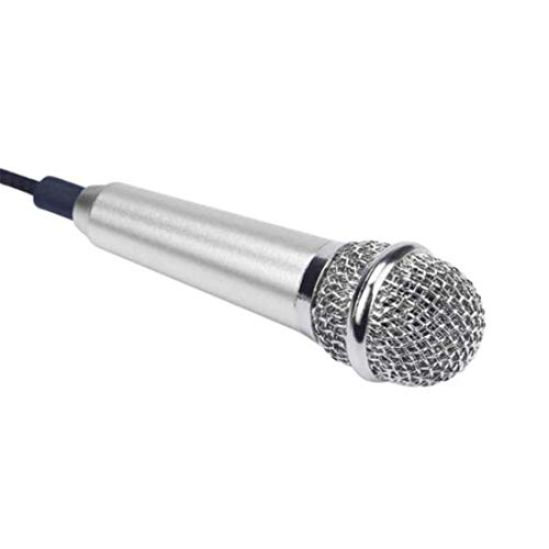Anasu Mini Microphone, Mini Karaoke Condenser Microphone,Chatting for Phone,Cellphones,Tablets,Computers (Silver)