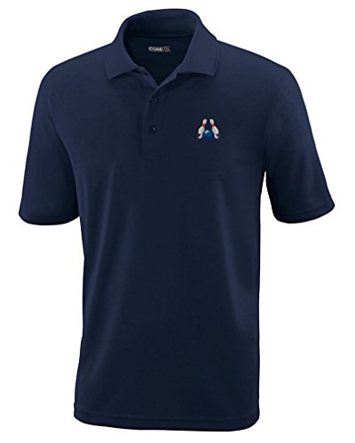 Bowling Sports Style 4 Embroidery Design Polyester Performance Polo Shirt Navy (Bowling T-shirt Designs)