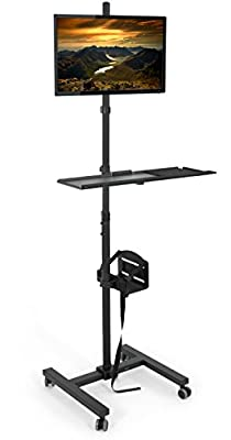"VIVO Black Computer Mobile Cart Rolling Stand | Adjustable Monitor Mount 32"" Case Holder & Keyboard Tray Moving Workstation (CART-PC02T)"