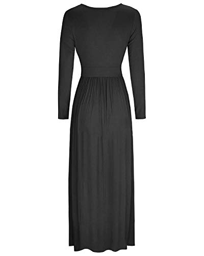High Pockets Waist MiXiaoJie Maxi Sleeve Casual Long Black Women's V with Wrap Neck Dress 7aTpYq