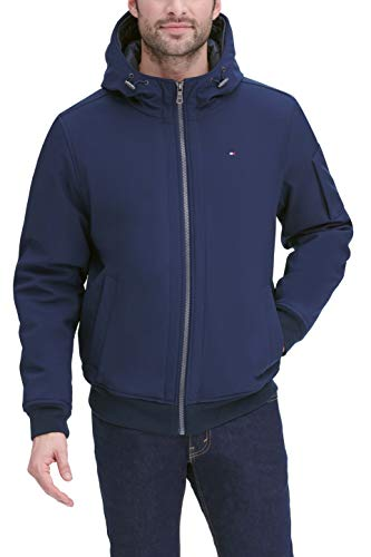 Tommy Hilfiger Men's Soft Shell Fashion Bomber with Contrast Bib and Hood