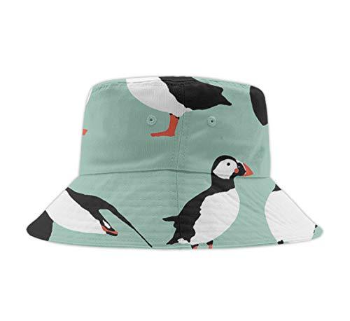 YongColer Unisex Cute Print Bucket Hat Summer Fisherman Cap Penguin Mint Green