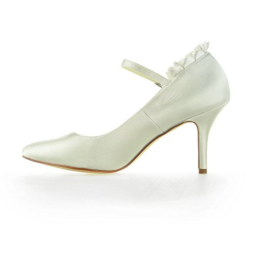JIA JIA 8390B11 Women's Bridal Shoes Closed Toe Heels Lace Satin Pumps Wedding Shoes Ivory pNrPB