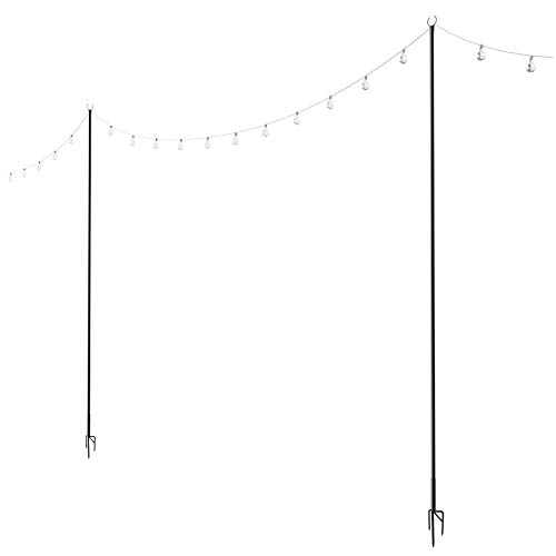 Outdoor String Lights Poles (2 Pack 8ft) - Light Your Patio or Garden with LED Or Solar Hanging Bulbs - Strong Waterproof Steel Powder Coated Poles That Stand Tall for Your House Café Or Wedding ()
