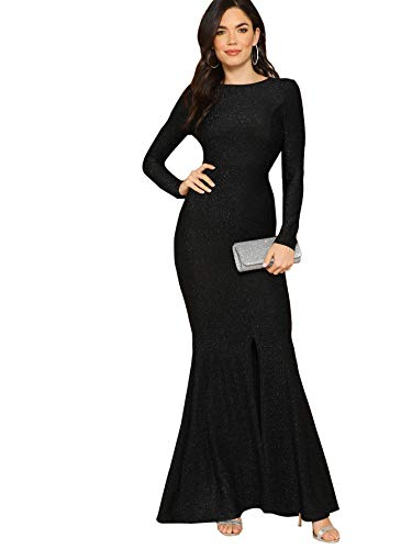 Verdusa Women's Elegant Open Back Slit Glitter Bodycon Mermaid Prom Dress Black S
