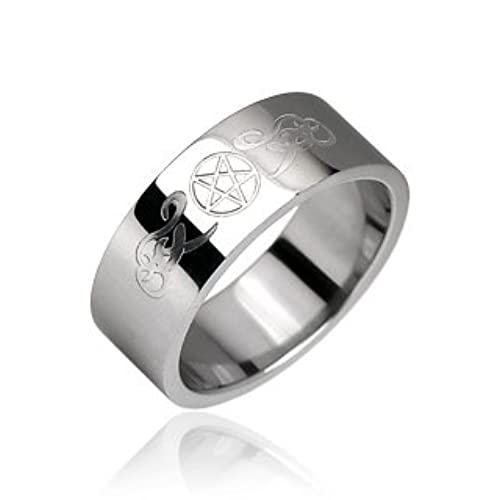 pentacle surgical steel ring size 11 - Wiccan Wedding Rings