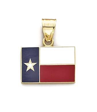 JewelryWeb émail 14 Carats Pendentif Drapeau du Texas