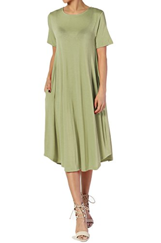 TheMogan Women's Short Sleeve Pocket A-line Fit and Flare Midi Dress Sage M ()