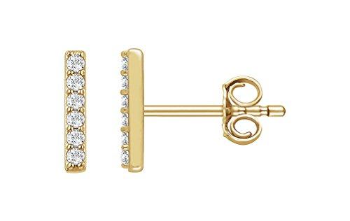 Dream Gem 14K Gold 1/10 CTW Diamond Vertical Bar Earrings (Yellow Gold) ()