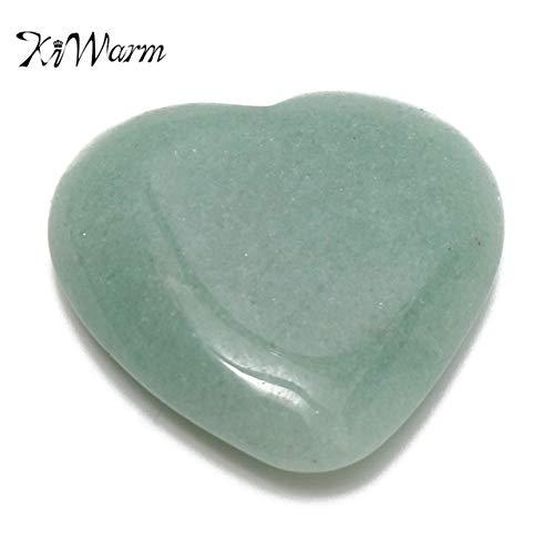 - Dalas Natural Jade Gemstone Heart Shape Green Aventurine Jade Healing Stone Crystal for DIY Pendants Jewelry Making 30-35mm