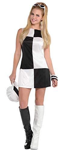 Ladies Black White Color Block Mod 60s 1960s Sixties Mods & Rockers Hen Night Do Carnival Fancy Dress Costume Outfit UK 8-20 (UK 10-12) -